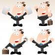 Set of Funny Cartoon Businessmen — Stock Vector