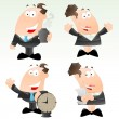 Set of Cartoon Office Worker — Stock Vector