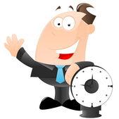 Businessman with Clock Vector — Stock Vector
