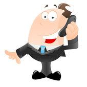 Happy Businessman Talking on Phone — Stock Vector