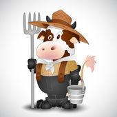 Dairy Cow Milkman Vector — Stock Vector