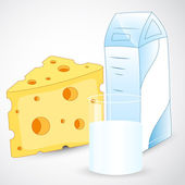 Milk with Cheese — Vector de stock