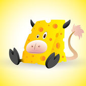 Cheese Cow Cartoon Vector — Stock Vector
