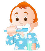 Cartoon Kid Brushing Teeth — Stock Vector
