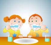 Kids Brushing Teeth — Stock Vector