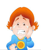 Kid with Tooth Pain — Stock Vector