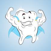 Superhero Healthy Tooth — Stock Vector