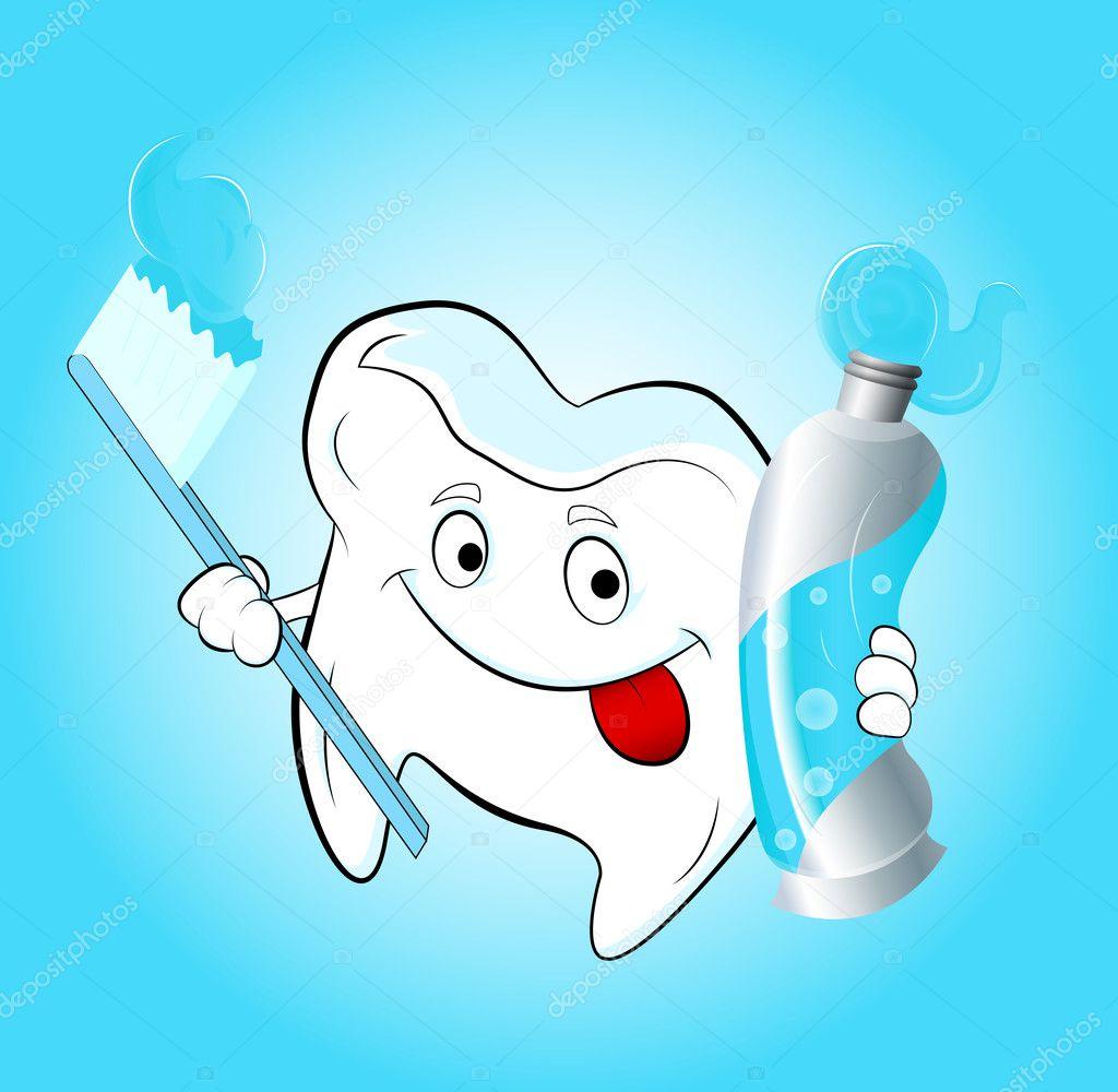 牙的牙刷和牙膏矢量图的概念设计