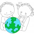 Funny Cartoon Kids with Earth — Stock Vector #9872752