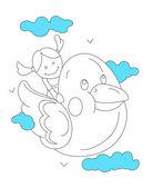 Kresba umění dítě na ptáka — Stock vektor