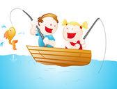 Cartoon Fisher Kids — Stock Vector