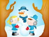 Kids Playing with Snowman — Stock Vector