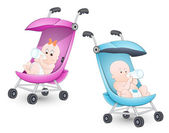 Cute Babies in Stroller — Stock Vector