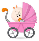 Baby Girl in Baby Carriage — Stock Vector