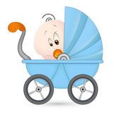 Cute Baby in Baby Stroller — Stock Vector