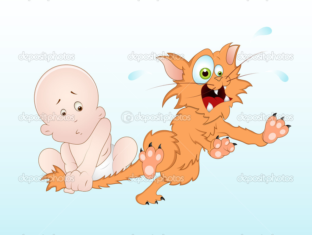 Creative Conceptual Design Art of Funny Baby Playing with Kitten Vector Illustration — Stock Vector #9899605