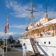 Aug 30, Aarhus, Denhark Her Danish Majesty's Yacht Dannebrog moo — Stock Photo