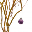 Stock Photo: Christmas table decoration with salix branch and bauble in v