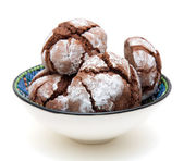 Home made chocolate bisquits in a small bowl — Stock Photo