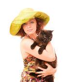 在绿色的草帽红发 — 图库照片
