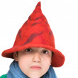 Pixie - cuty little boy in felted hat and blue scarf; - Stock Photo