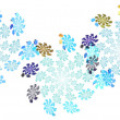 Stock Photo: Repeatable fractal border of swirling snowflakes