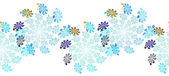 Repeatable fractal border of swirling snowflakes — Stock Photo