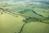 View over the early summer green fields from hot air balloon; Ea — Stock Photo