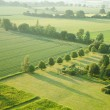 Stock Photo: Tidy square - view over early summer green fields from air; East An