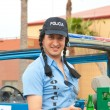 CORRALEJO - MARCH 17: Cross-dressed participant, Polizia Loka — Stock Photo