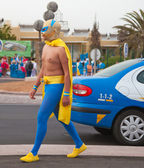 "CORRALEJO - MARCH 17: Dressed-up participant, ""superhero"", at as — Stock Photo"
