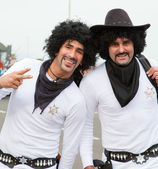 """CORRALEJO - MARCH 17: Two participants, """"White Sheriffs"""" at the — Stock Photo"""