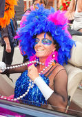 CORRALEJO - MARCH 17: Cross-dressed participant at the assembly — Stock Photo