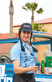 "CORRALEJO - MARCH 17: Cross-dressed participant, ""Polizia Loka"" — Stock Photo"