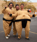 "CORRALEJO - MARCH 17: Dressed-up participants, Sumo wrestlers"", — Stock Photo"