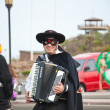 CORRALEJO - MARCH 17: Dressed-up participant, Zorro at assembl — Stock Photo