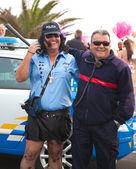 """CORRALEJO - MARCH 17: Cross-dressed participant, """"Polizia Loka"""" — Stock Photo"""