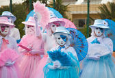 CORRALEJO - MARCH 17: Participants in venetian-style costumes at — Stock Photo