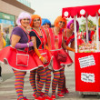 CORRALEJO - MARCH 17: Dressed-up participants, candy girls, at — Stock Photo