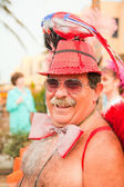 CORRALEJO - MARCH 17: Dressed-up grey haired participant at Gran — Stock Photo