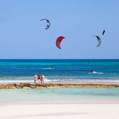 Kitesurfing at Flag Beach, Fuerteventura — Stock Photo