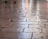 Flagstones polished to perfection by walking feet, Zadar, Croati — Stock Photo