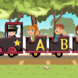 Kids riding alphabet train — Stock Vector