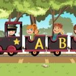 Kids riding alphabet train — Stock Vector #10226808