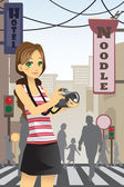 Woman tourist — Stock Vector