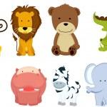 Wild animal cartoons — Stock Vector