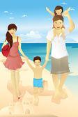 Beach family — Vector de stock