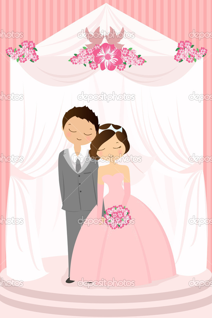 A vector illustration of a bride and a groom celebrating their wedding — Stock Vector #8146918