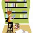 Student in library — Stock Vector #8164110
