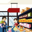 Stock Vector: Family shopping grocery